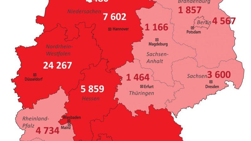 +++ Tebels Coronavirus-Karte von Deutschland +++ aktueller Stand: 12. April, 0.00