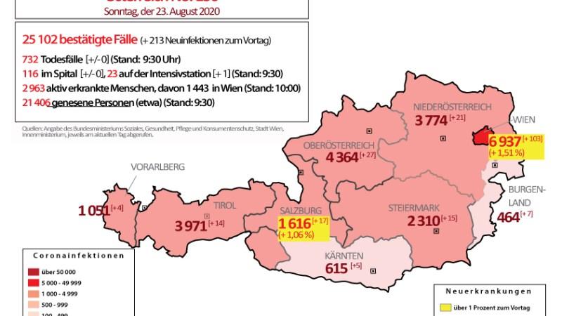 Coronavirus in Österreich : Wien, Salzburg und Burgenland mit über 1 Prozent Steigerung zum Vortag