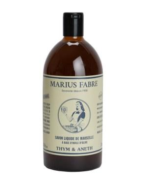 sapone liquido di marsiglia ricarica 1000ml timo e aneto marius fabre tec-terreecolori calestano-parma