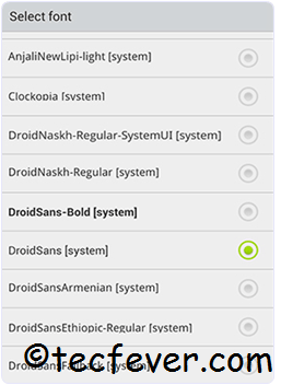 Change Android Font Without Root Access select font