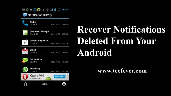 Recover Notifications Deleted From Android