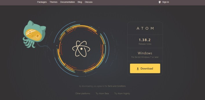 Página inicial do site do Atom, com um botão de download, opções para outras plataformas, um logo do Github e o do Atom .