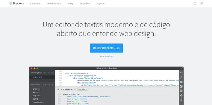 Página inicial do site do Brackets com um botão para download da versão mais atual da API.