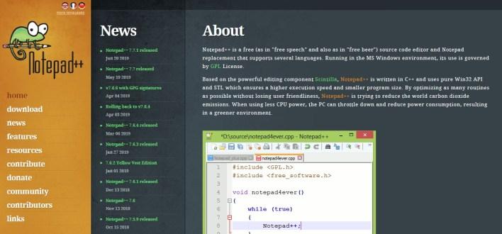 Página inicial do site do Notepad++ (notepad plus plus) com o logo do Camaleão, sobre o editor, sobre a versão e mais informações.