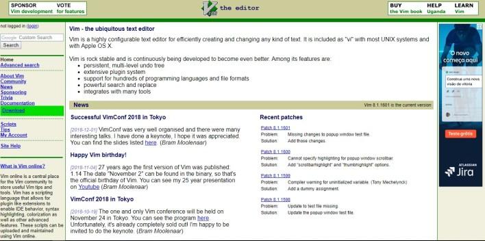 Página inicial do site do Vim, com diversos textos em inglês sobre o editor.