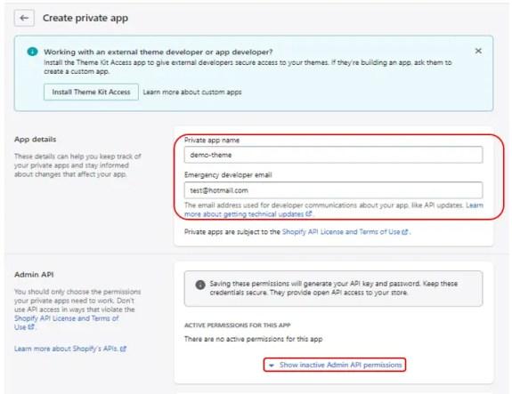 Shopify create app settings
