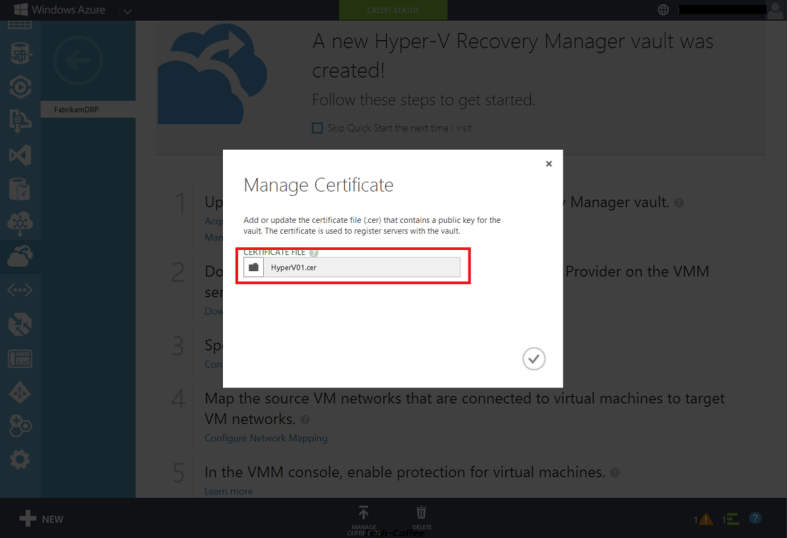 Make a VMM Cloud failover with Hyper-V Recovery Manager in Azure