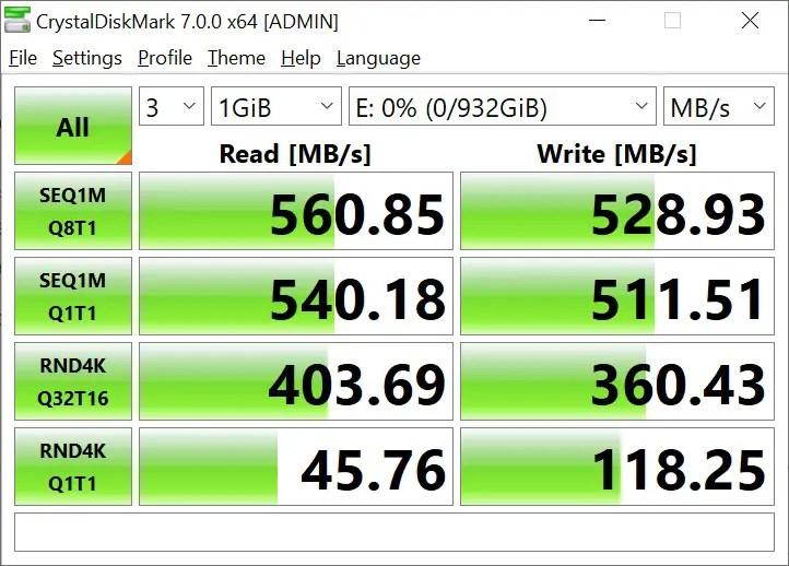 CrystalDiskMark Samsung 860 EVO 1GB (1)