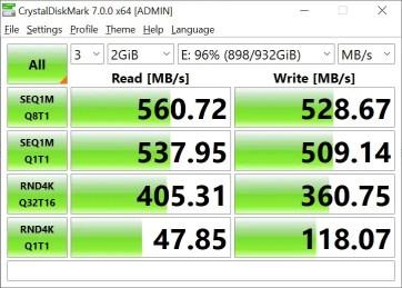 CrystalDiskMark Samsung 860 EVO 2GB (2)