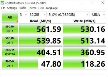 CrystalDiskMark Samsung 860 EVO 32GB (1)