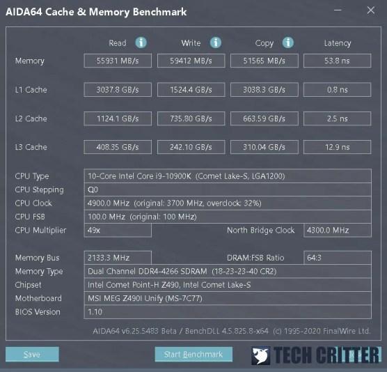 KLEVV CRAS XR RGB DDR4 4266 AIDA64