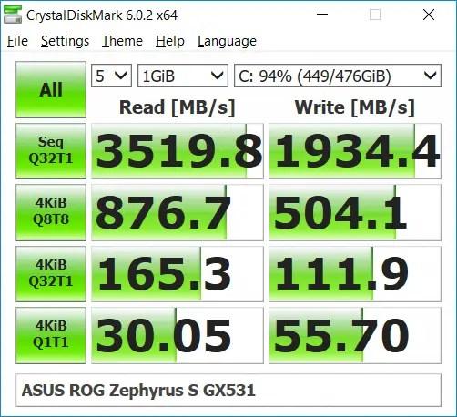 ASUS ROG Zephyrus S GX531 CrystalDiskMark