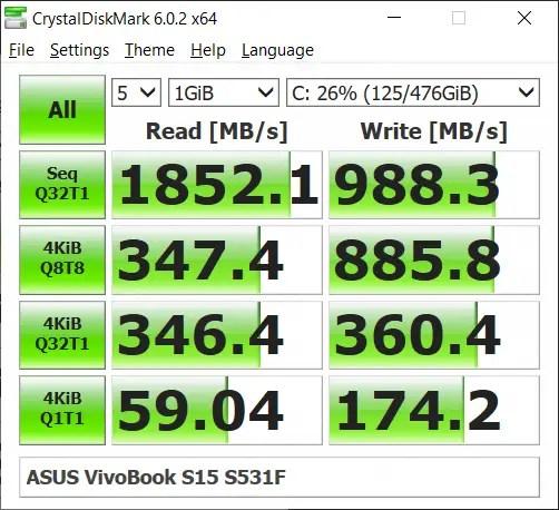 ASUS Vivobook S15 S531F CrystalDiskMark
