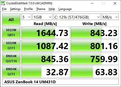 Review - ASUS ZenBook 14 UM431D (R5-3500U, Radeon Vega 8, 8GB DDR4-2400, 512GB PCIe Gen3x2) 14