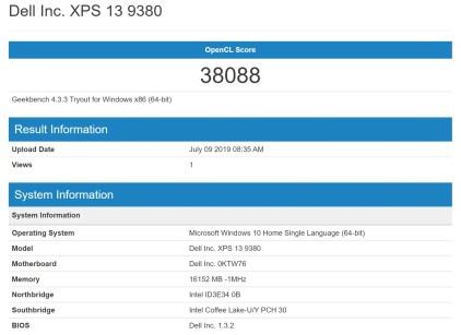 Dell XPS 13 9380 GeekBench4 GPU