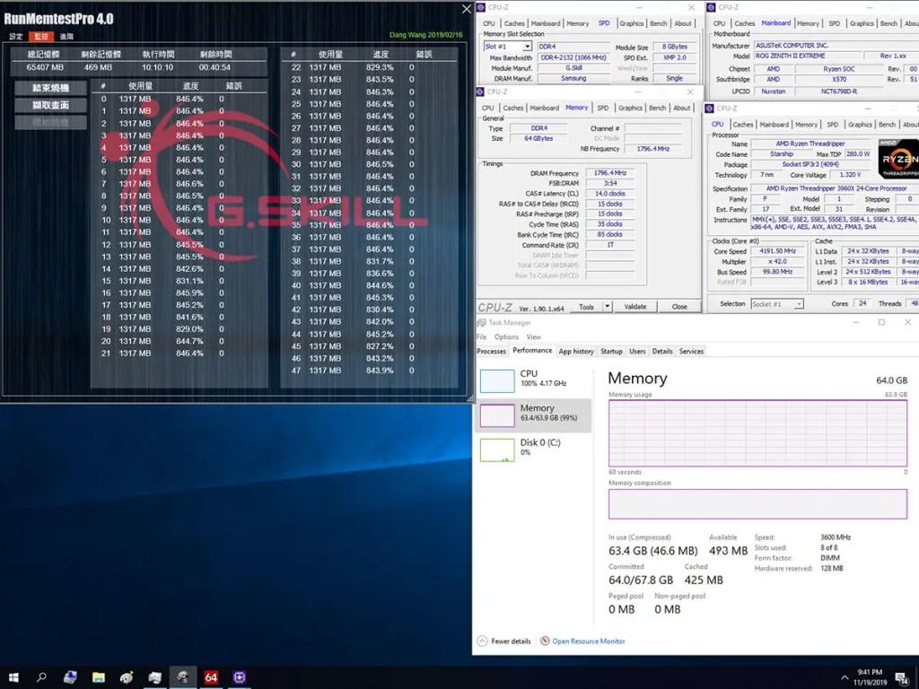 G.Skill AMD 3600 CL14-15-15-35 65GB 10hr ASUS