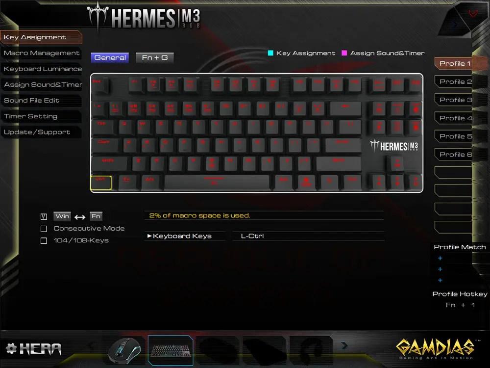 GAMDIAS Hermes M3 RGB keyboard HERA software