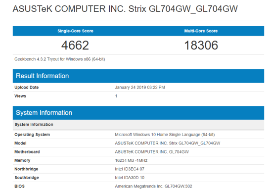 GL704 RTX Geekbench CPU