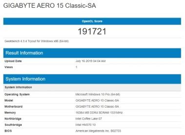 Gigabyte AERO 15 1660Ti Geekbench 4.3.4 OpenCL