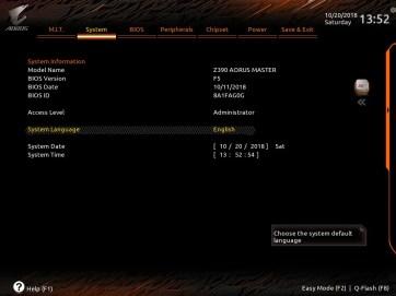 Gigabyte Z390 AORUS Master UEFI BIOS Classic Mode (2)