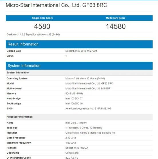MSI GF63 8RC Geekbench 4 CPU