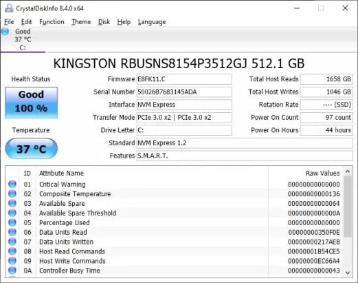 MSI GF65 Thin 9SD Crystal Disk Info
