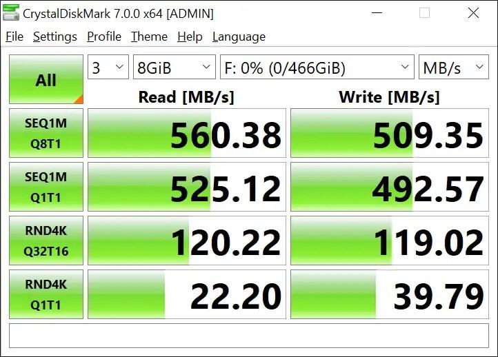 T-Force Delta Max 500GB 8GB Crystal Disk Mark (1)