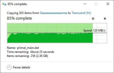 Transcend StoreJet 25M3S File Transfer In