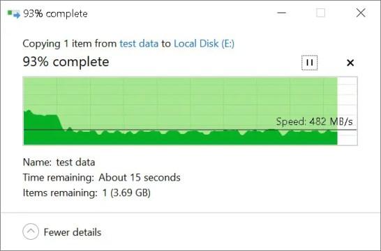 WD Black NVME SSD copy to NVMe SSD (Incompressible Test Data Set 1)