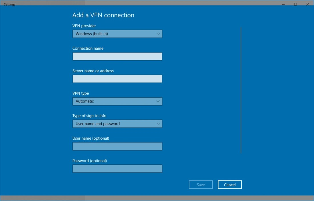 There is a Built-in VPN Client in Windows 10 6