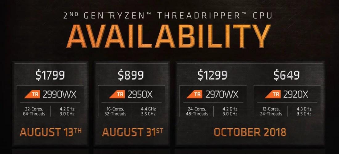 amd 2nd gen ryzen threadripper price
