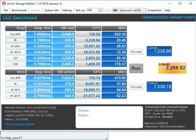 SSD230S Anvil's Storage Utilities