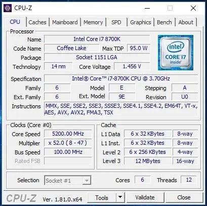aorus z370 intel i7-8700k 5.2ghz