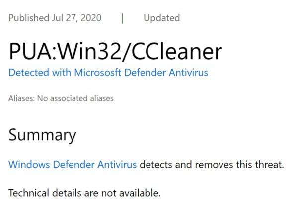 برنامج CCleaner يتم إعتباره الأن فيروس خطير في ويندوز 10 من قبل ميكروسوفت
