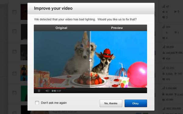 suggested edits screenshot الأن يمكن تحسين الفيديو في اليوتيوب بضغطة زر