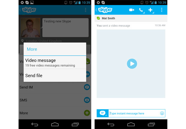 android skyp evideo message