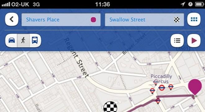تطبيق خرائط نوكيا على iOS