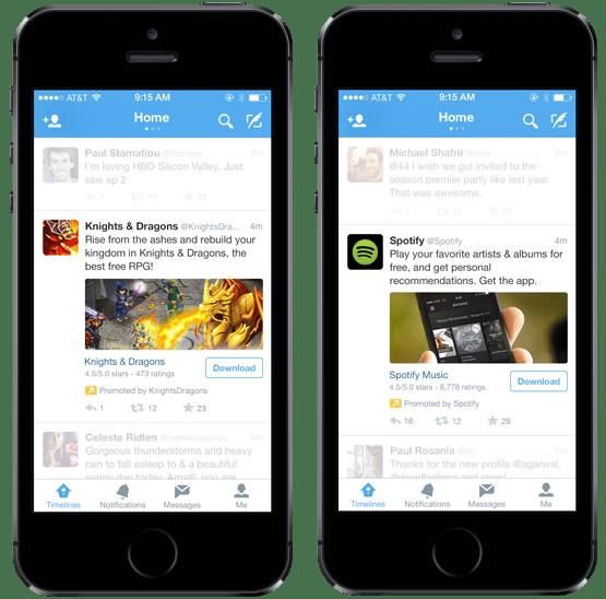 إعلانات تثبيت التطبيقات على تويتر