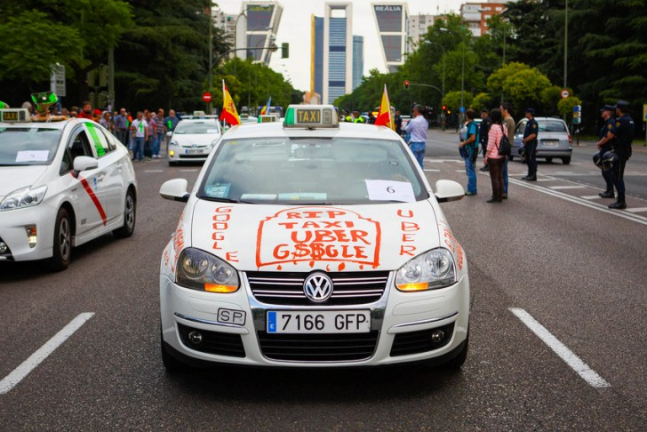 Spanish Taxi Drivers Protest Against Uber Technologies Inc. Taxi App