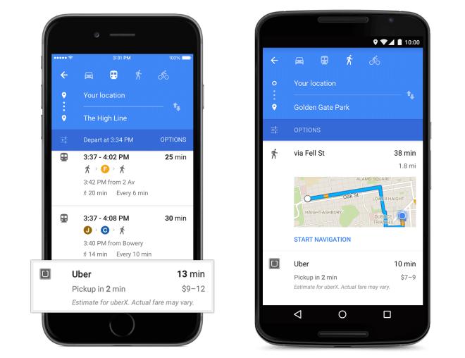 Uber card in Google Maps
