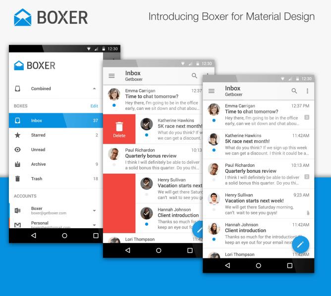 تحديث تطبيق البريد الإلكتروني Boxer يُجلب تصميم ماتيريال ديزاين