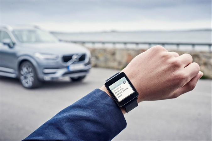 Volvo On Call app in an Android Wear watch