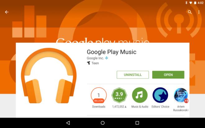 تطبيق Play Music من جوجل تخطى المليار تثبيت على متجر بلاي