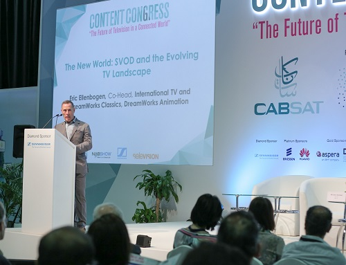 Eric Ellenbogen, the Co-Head of International TV & DreamWorks Classics, DreamWorks Animation during his keynote speech at the CABSAT 2016 Content Congress