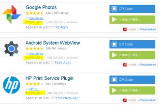 تطبيقات صور قوقل و HP Print و Android System Webview يصلوا لـ 500 مليون تثبيت