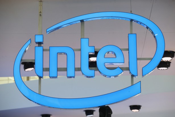 HANOVER, GERMANY - MARCH 14: The Intel logo hangs over the company's stand at the 2016 CeBIT digital technology trade fair on the fair's opening day on March 14, 2016 in Hanover, Germany. The 2016 CeBIT will run from March 14-18. (Photo by Sean Gallup/Getty Images)