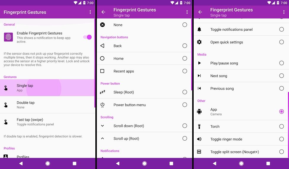 تطبيق Fingerprint Gestures للإنتقال إلى الأدوات والتطبيقات عبر مستشعر البصمة