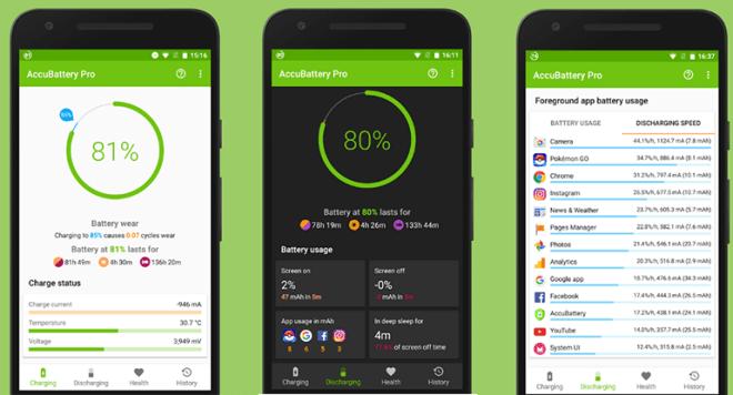 تطبيق AccuBattery لإختبار قدرة البطارية وتقديم تقارير حولها