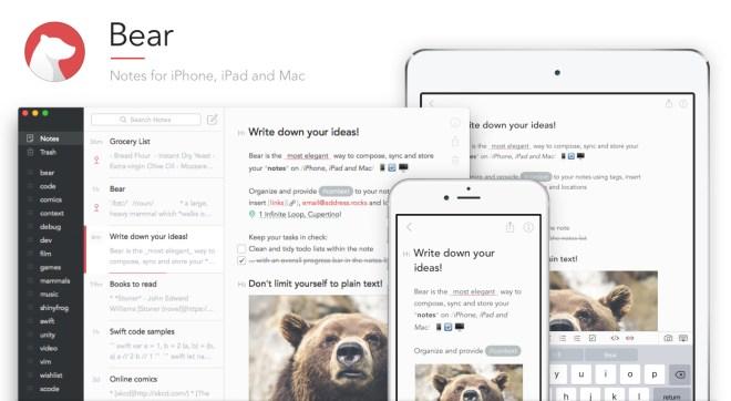 تطبيق تدوين الملاحظات Bear على iOS يأتي بأدوات الرسم على الشاشة