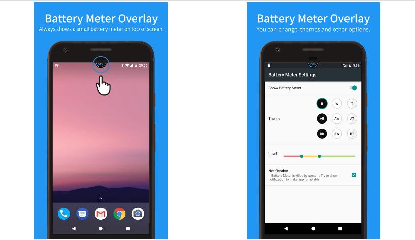 تطبيقBattery Meter Overlay لتخصيص وإظهار نسبة البطارية